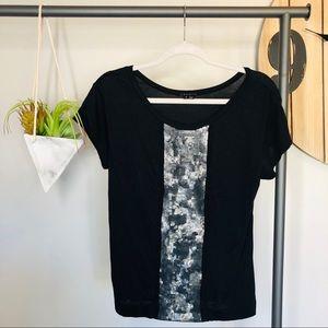 Theory Black & Gray Sequin T-Shirt